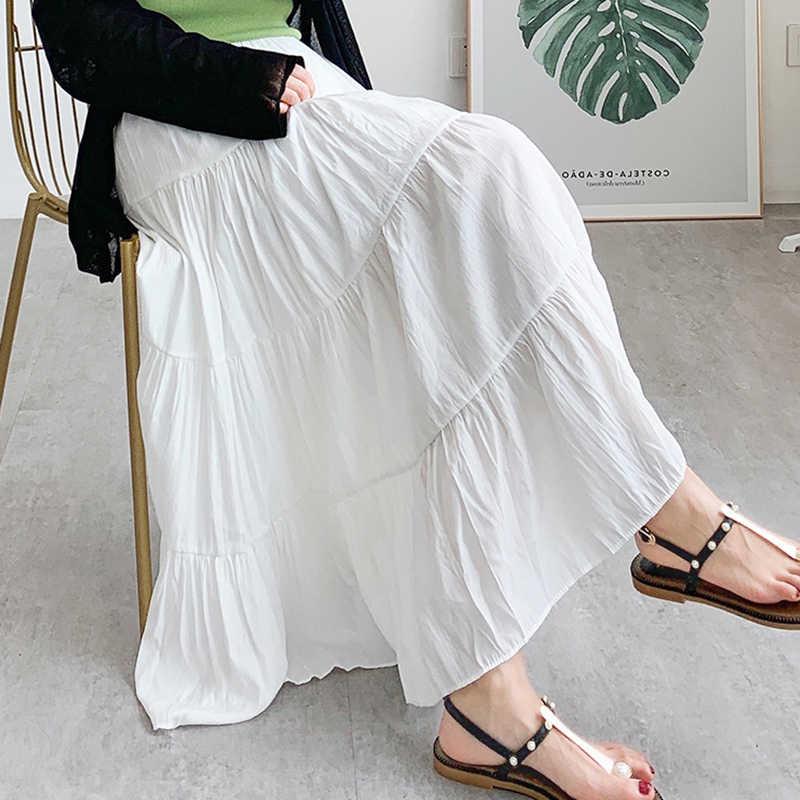 Surmiitro Lange Geplooide Rok Vrouwen 2020 Zomer Herfst Fashioon Koreaanse Zwart Groen Hoge Taille Zon School Maxi Rok Vrouwelijke