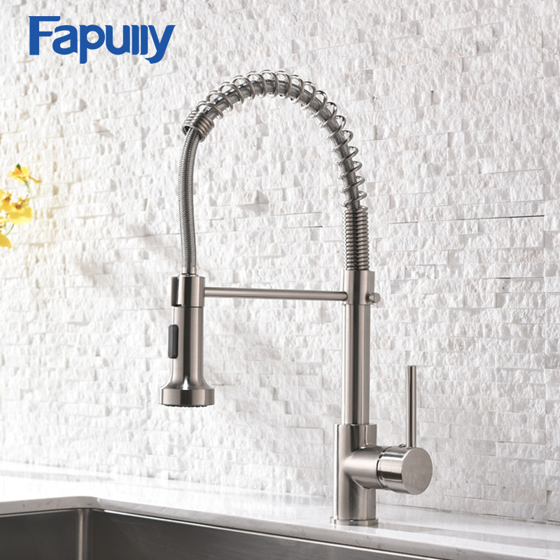 Fapully Kitchen Faucet Spring Pull Out Sprayer Dual Spout Single Handle Mixer Tap Sink Faucet 360 Rotation Kitchen Faucets 189