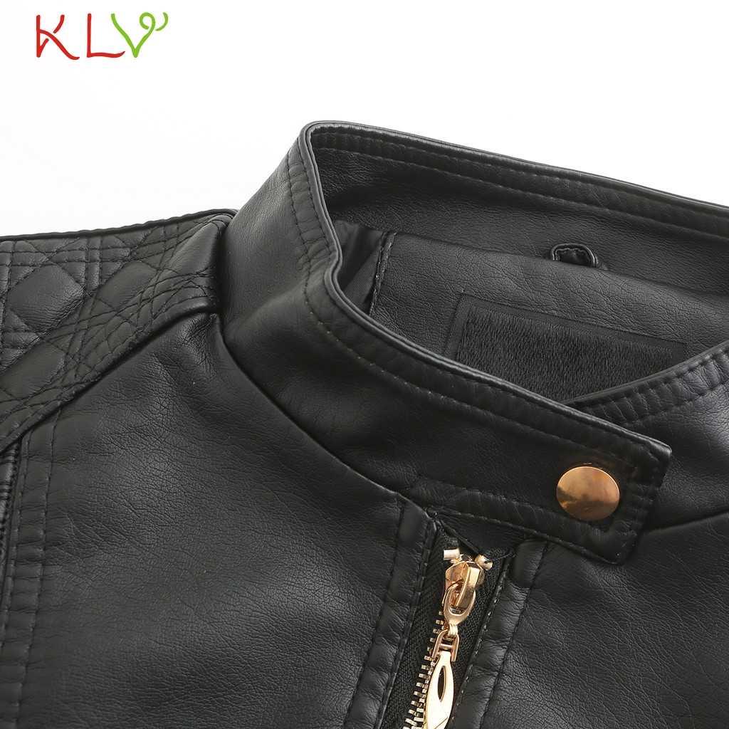 女性のジャケット 2019 ファッション秋冬ブラックフェイクレザージャケットジッパー基本コートスタンド襟バイカーストリートファム 19Aug