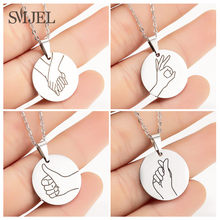 SMJEL Personalized Sign Language Necklace Women Men I Love You Swear Okay Hand Gesture Chain Necklaces For Sister Friend Gift(China)