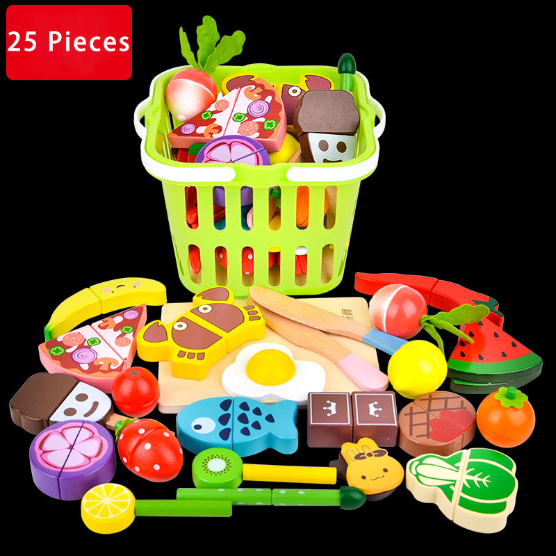 New Juguetes Toys Pretend Play Wood Fruits and Vegetables Slice Wooden Toy House Magnetic Sets Assembly Unisex image