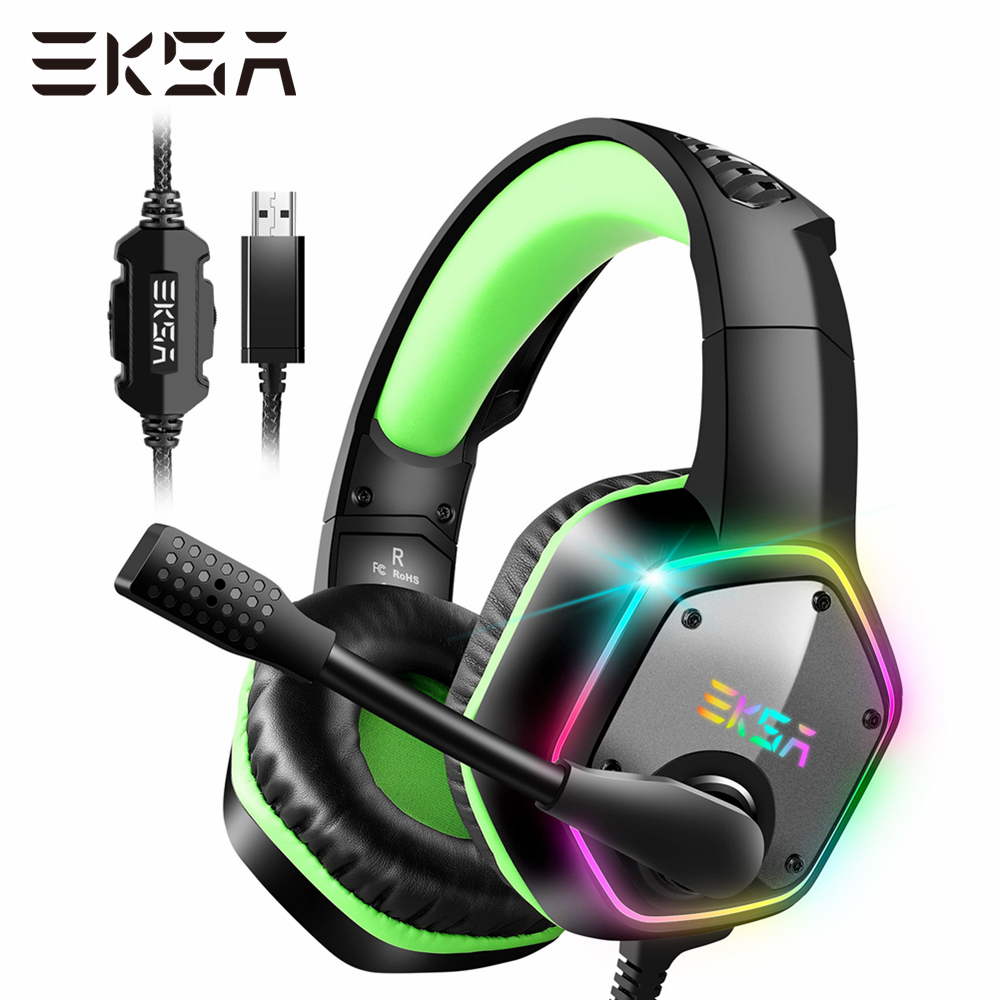 EKSA E1000 Gaming Headset 7 1 Surround Sound Wired Headset Gamer PC For PS4 with RGB Light Noise Cancelling Mic Gaming Headphone