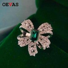 OEVAS moda 925 ayar gümüş ilmek yüzük kadınlar için kıvılcım tam zirkon yeşil CZ düğün parti gelin bandı takı hediye