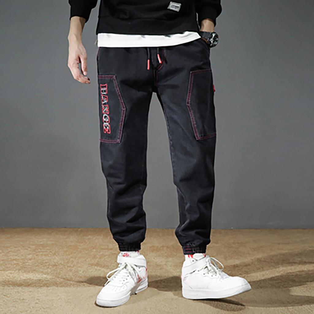 Men Pants Black Letter Multi-Pockets Cargo Pants 2019 New Fashion Streetwear Joggers Harajuku Sweatpant Hip Hop Trousers L30919
