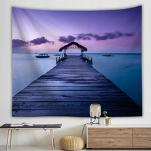 Sunset Wood Bridge Wall Cloth Tapestries Digital Beach Print Hanging Blanket Bedspread Dorm Decor Table
