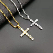 Hip Hop Iced Out Cross Pendant With Stainless Steel Chain Christian Golden Necklace For Women/Men Jewelry Dropshipping(China)