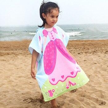 Kids Poncho Towels Hooded Bathrobe for Girls Boys Quick Dry Cotton Beach Towel Cartoon Children Bath Towel Baby Swimming Towel 3