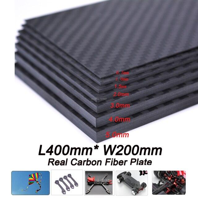 400mm X 200mm gerçek karbon Fiber plaka paneli levha 0.5mm 1mm 1.5mm 2mm 3mm 4mm mm 5mm kalınlığında kompozit sertlik malzemesi
