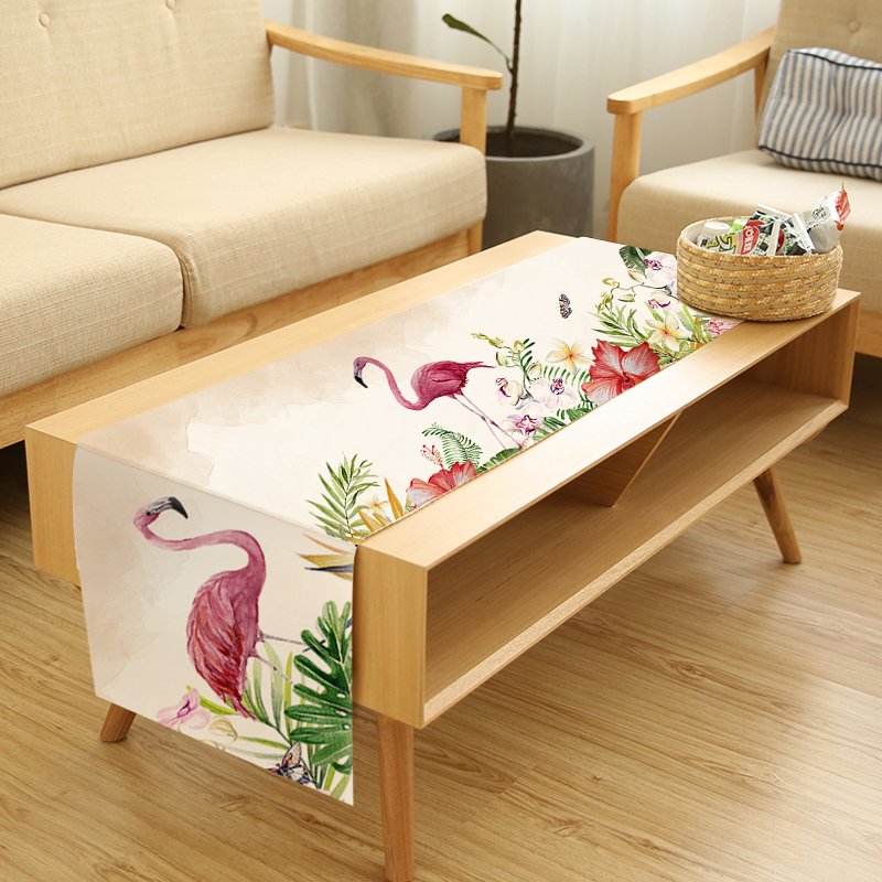 Nordic Table Runners Animal Plants Printed Christmas Table Runner Cotton Linen Table Cover Birds Cactus Table Cloth Creative