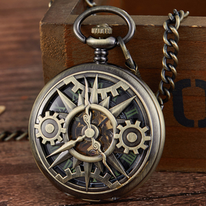 Image 1 - レトロ中空刻ま機械式懐中時計ヴィンテージポケットはブロンズゴールド Fob チェーンネックレスフリップ巻時計