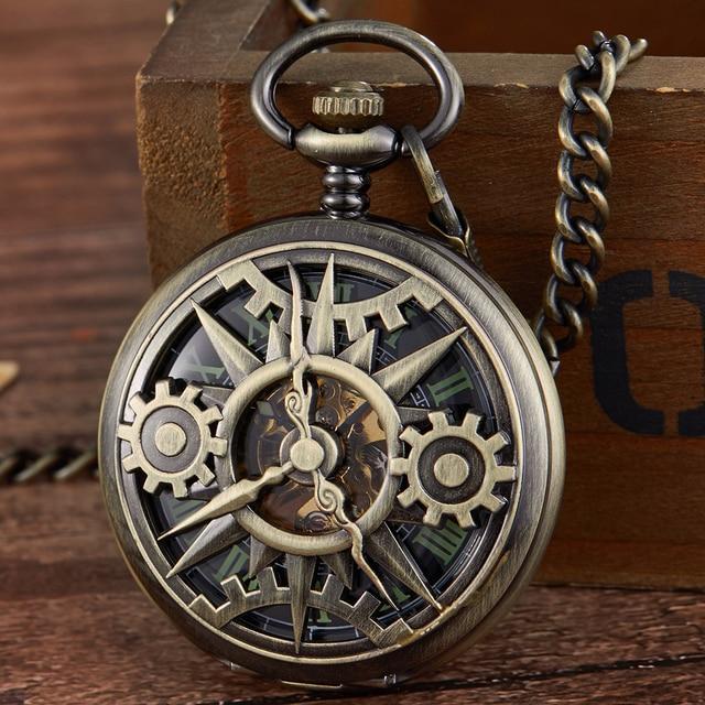 レトロ中空刻ま機械式懐中時計ヴィンテージポケットはブロンズゴールド Fob チェーンネックレスフリップ巻時計