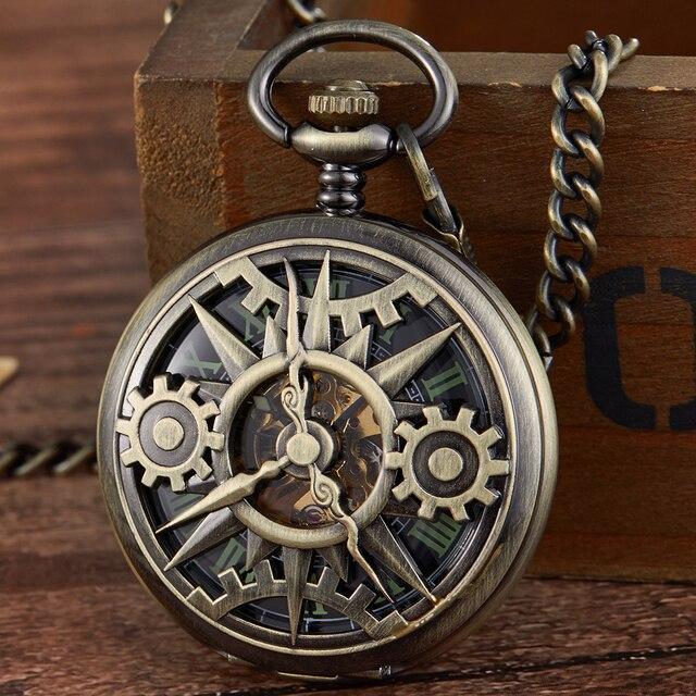Retro Hohl Getriebe Gravierte Mechanische Taschenuhr Vintage Taschenuhren Bronze Gold Fob Kette Halskette Flip Handaufzug Uhr
