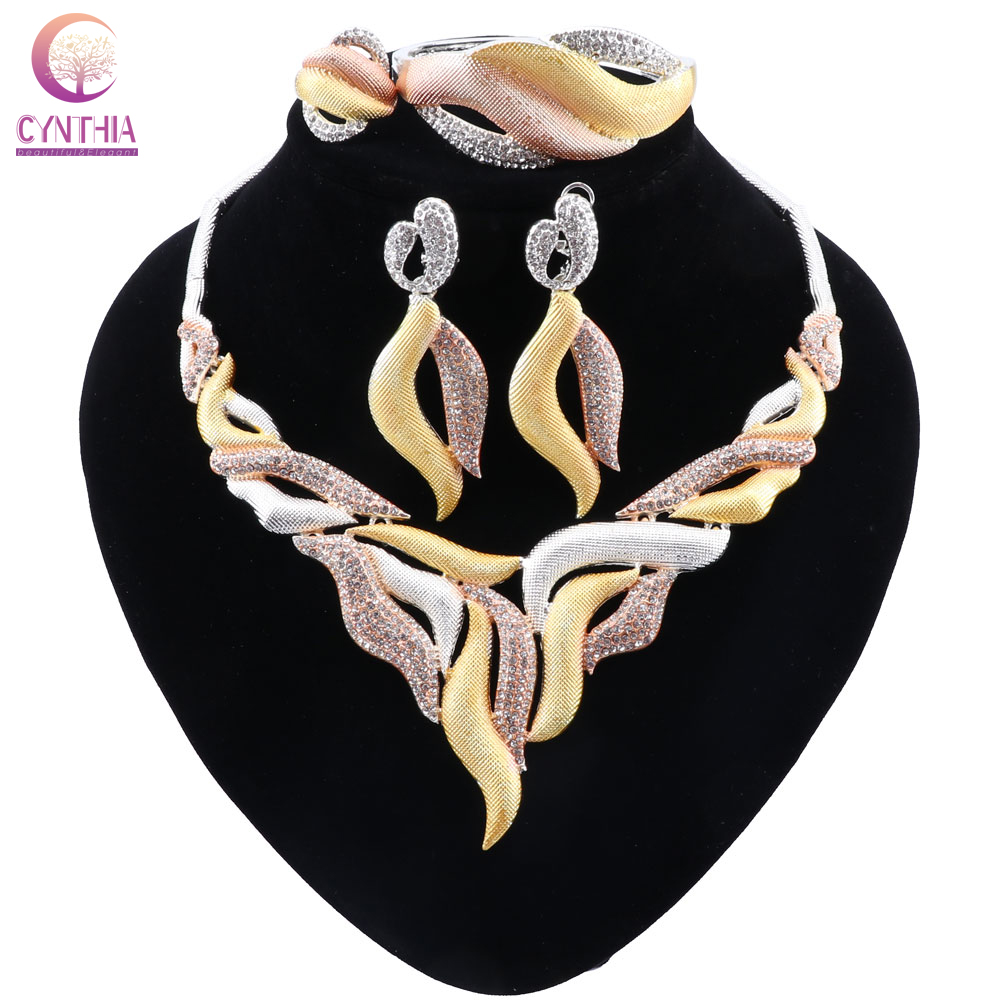 CYNTHIA Dubai Gold Jewelry Set for Women Crystal Leaf Shape Jewelry Classic Style <font><b>Necklace</b></font> <font><b>Earrings</b></font> <font><b>Ring</b></font> <font><b>Bracelet</b></font> Bridal Jewelry image