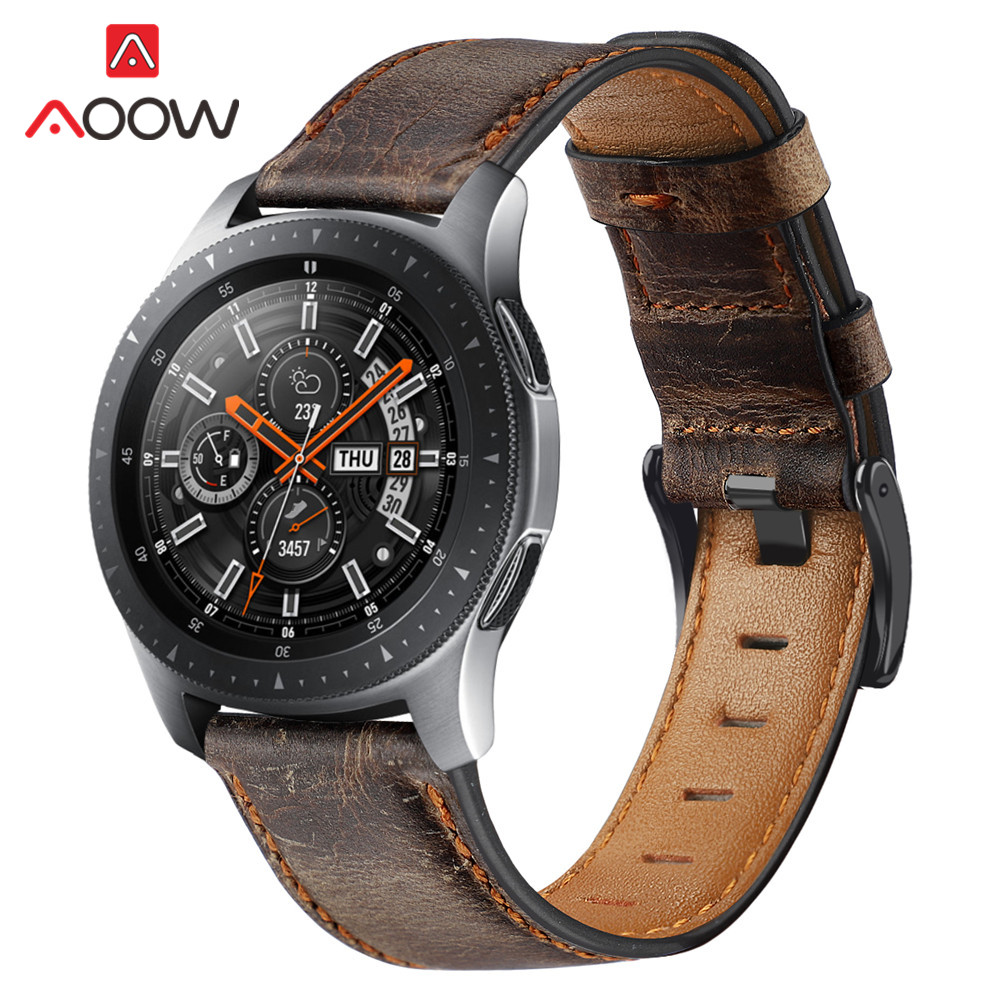 22mm Genuine Leather Watchband For Samsung Galaxy Watch 46mm Gear S3 Huawei GT 2 Amazfit GTR 47mm Retro Dark Brown Band Strap