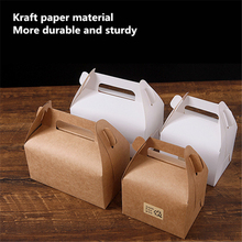 10pcs High-quality Cake Food Candy Kraft Paper Box With Handle Portable Box Christmas Birthday Wedding Party Candy Gift Packing 10pcs lot cake candy hand strap butterfly decorative gifts paper foldable box for apple candy cookie party gifts packing box