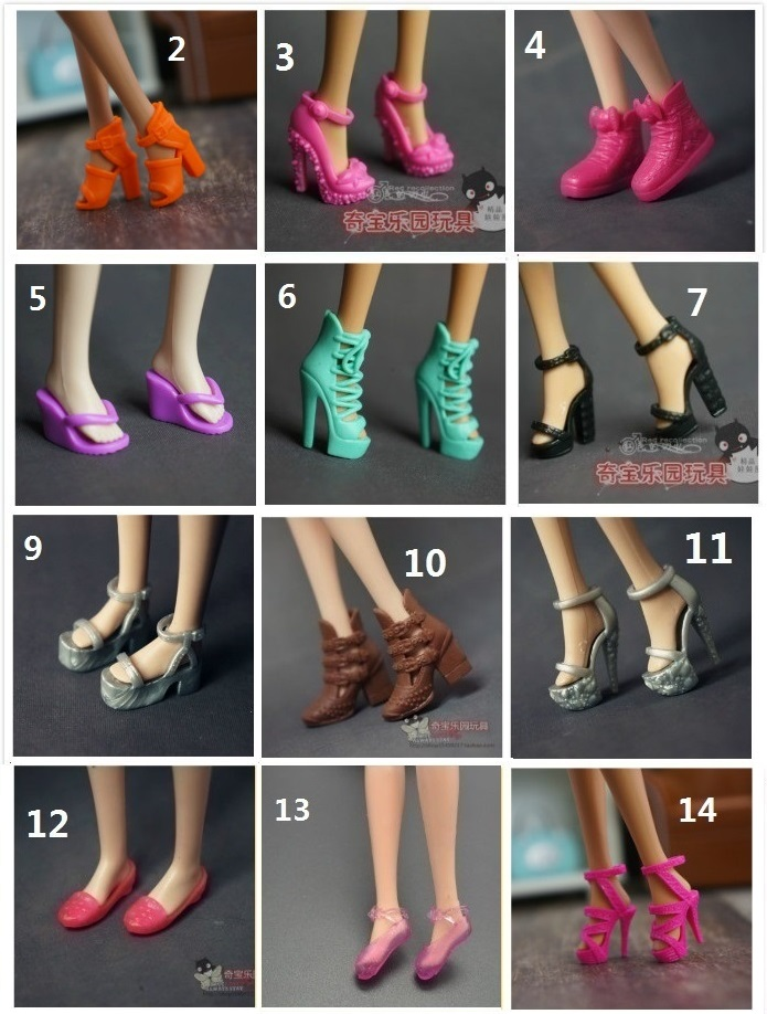 10 Pairs/lot Original Shoes For Barbie Doll 1/6 Bjd Accessories Lalki Princess Zapatos Pullip Bonecas Sandal Heels Shoes Bay Toy