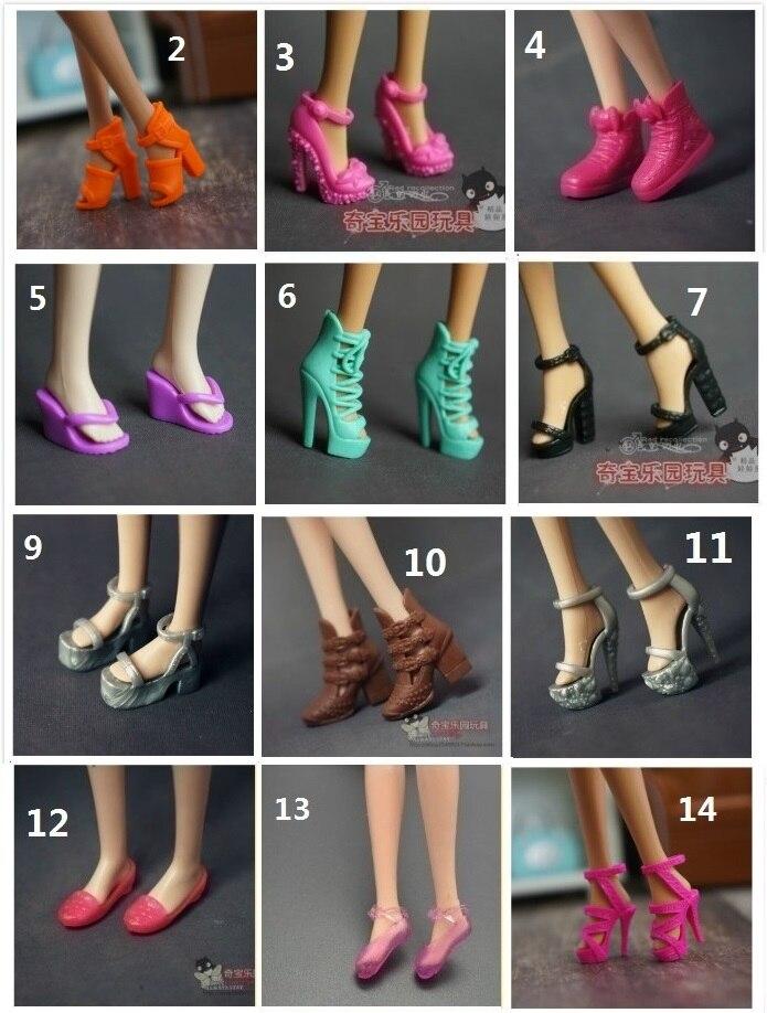 10 Pairs/lot Original Shoes For Barbie Doll 1/6 Bjd Accessories Lalki Princess Zapatos Pullip Bonecas Sandal Heels Shoes Bay Toy