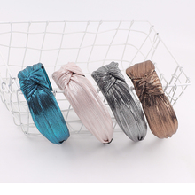 New Solid Ribbon Knot Plastic Hairbands Headbands for Women Girls Gold Wine Red Hairband Wide Hair Band Accessories