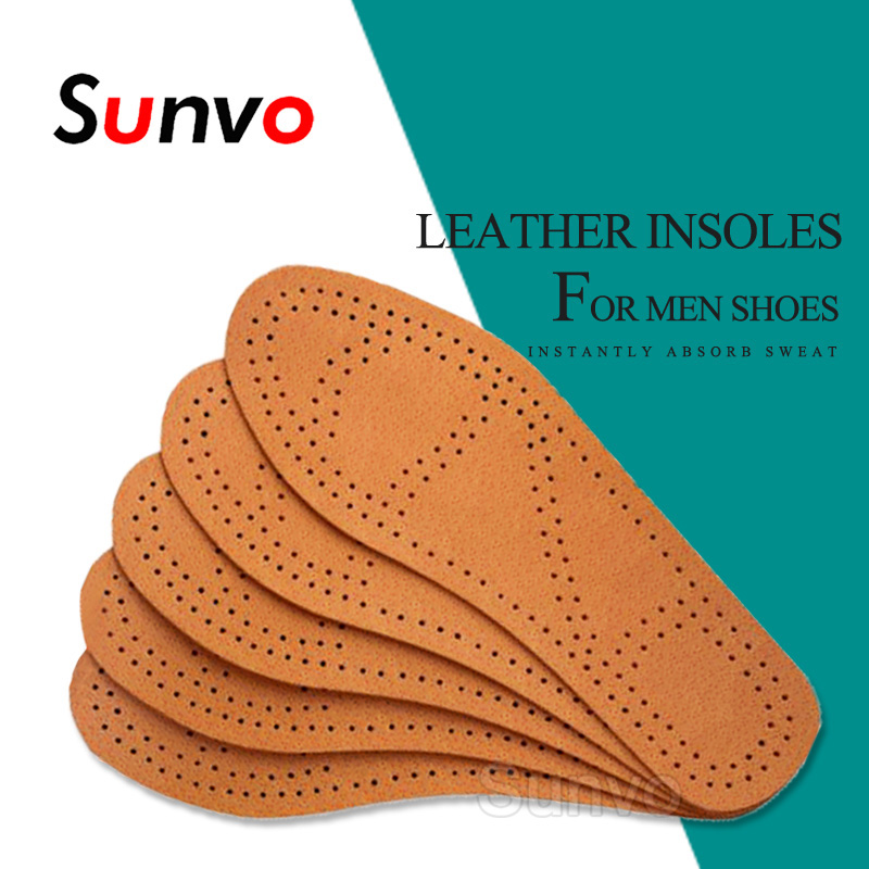 Breathable Leather Insoles For Men Business Shoes Deodorant Ultra Thin Instantly Absorb Sweat Replacement Inner Soles Insole Pad