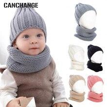 Детская зимняя шапка шарф комплект 2 шт. теплые однотонные Цвет трикотажные хлопковые Beanie Hat Baby Милая утепленная одежда для мальчиков и девочек комплекты шапки бини шапки От 0 до 3 лет