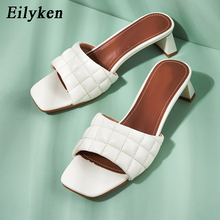 Eilyken 2020 Summer Women Mules Design slippers Sandals Square sole slides Low h