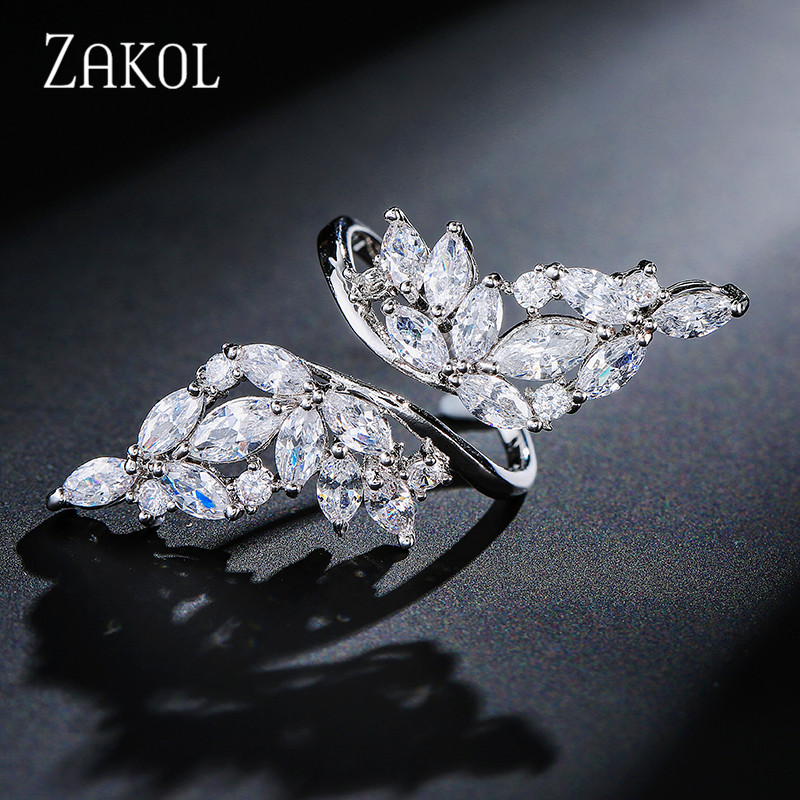 ZAKOL Vintage White Gold Color Crystal Zirconia Finger Open Rings for Girl Trendy Wing Shape Party Women Jewelry Gift