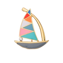 New  Vintage Rhinestone Crystal Brooches Pins Colorful Sailboat Weddings Party Brooch Pin Women Men Jewelry