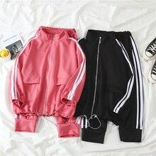 Mooirue women tracksuit autumn loose casual coat pockets tops+striped high waist pants sports suit streetwear Harajuku pink set