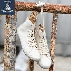 Zapatillas de vulcanización para hombre SauceZhan Zapatillas altas para Hombre Zapatos de vulcanización para pareja zapatillas de mezclilla con orificios