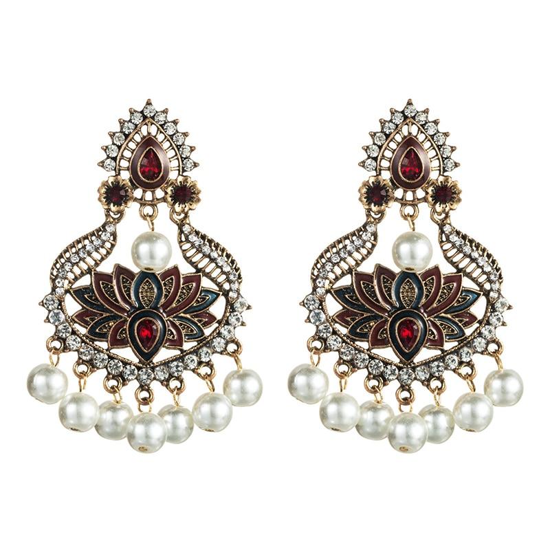 2020 New Summer Trendy Handmade Pearl Beads Enamel Flower Indian Earrings Korean Fashion Women Party Jewelry