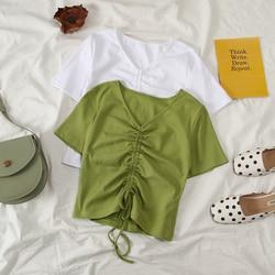 Camiseta feminina curta verde, blusa feminina harajuku ropa kpop