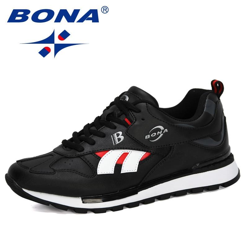BONA 2020 nuevos diseñadores Zapatillas de deporte de cuero de acción hombres zapatos casuales cruzada de moda al aire libre Zapatillas Hombre Zapatos de cuero para hombre, zapatos informales de verano derby para exteriores planos hechos a mano, cordones negros, zapatos para hombre, zapatos marrones para primavera 2019
