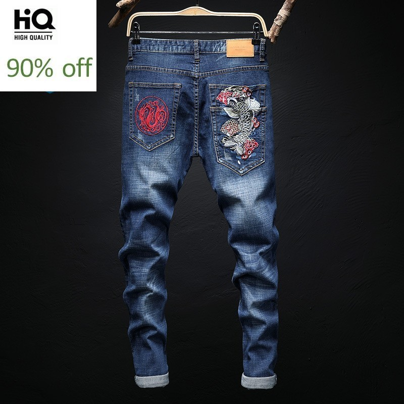 Size 28-36 Embroidery Elatic Slim New Male Full Length Jeans Fashion Streetwear Straight Cowboy Denim Pants Man Trousers