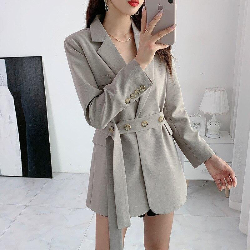 Женский однотонный Блейзер большого размера высокого качества, новинка 2020, осень и зима, облегающий женский пиджак средней длины, модный костюм Пиджаки    АлиЭкспресс
