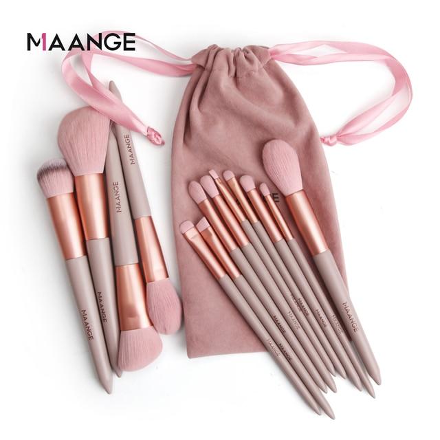 MAANGE 13pcs Quick-Drying Makeup Brush Set With Bag Soft Blush Loose Powder Highlight Eye Shadow Brush Portable Beauty Tool 1