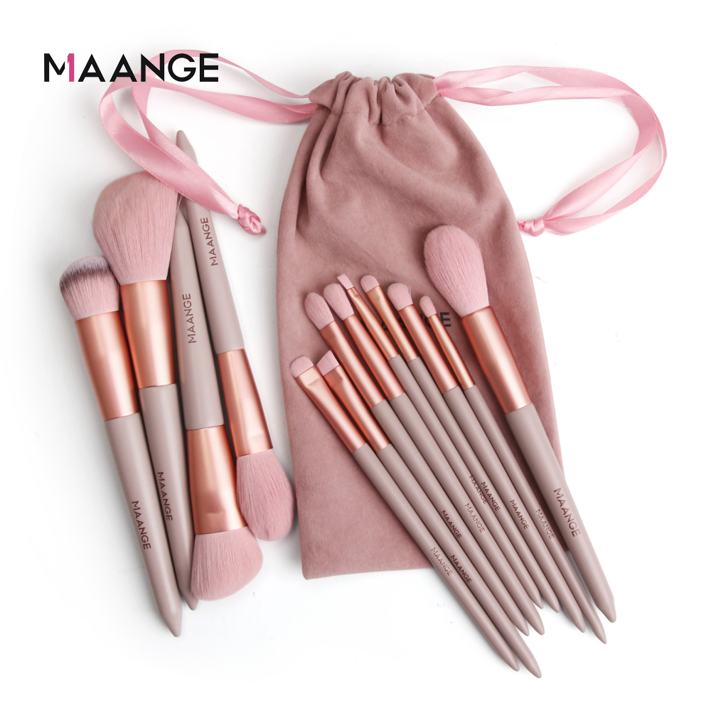 MAANGE 13pcs Quick-Drying Makeup Brush Set With Bag Soft Blush Loose Powder Highlight Eye Shadow Brush Portable Beauty Tool