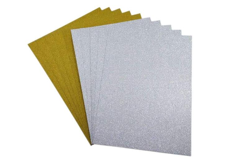 20 Sheets Silver/Golden Glitter Card Shimmer Cardstock For Scrapbook Size A4 Single Side 250gsm Thickness You Choose Color