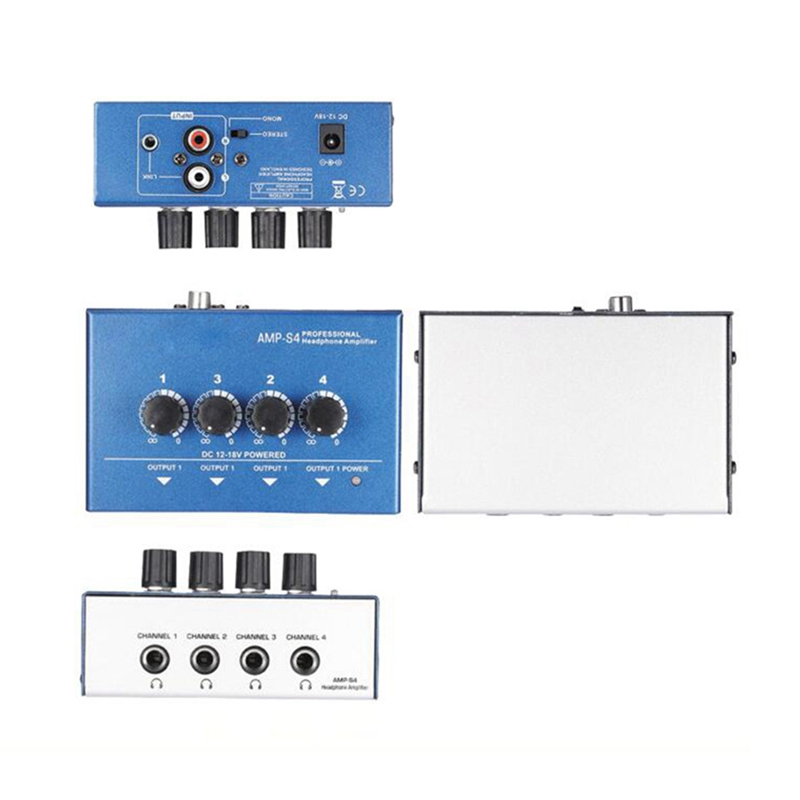Ultra Compact 4 Channels Mini Audio Stereo Headphone Amplifier With Power Adapter Blue Eu Plug in Earphone Accessories from Consumer Electronics