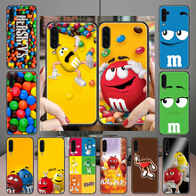 M & m chocolate marca caso de telefone para samsung galaxy a 3 5 7 8 10 20 21 30 40 50 51 70 71 e s 2016 2018 4g preto macio celular capa
