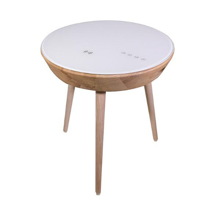 multifunctional sofa side table creative smart bluetooth speaker wireless charging usb solid wood round end table