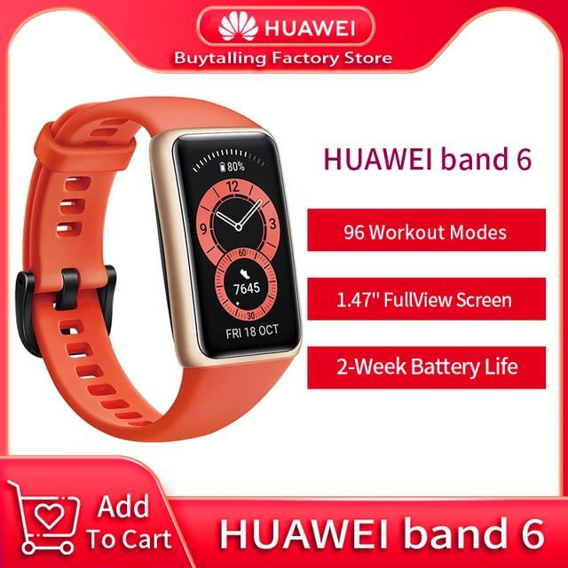 100% Original Huawei Band 6 Wristbands Blood Oxygen Heart Rate Tracker 1.47 inch AMOLED Smartband