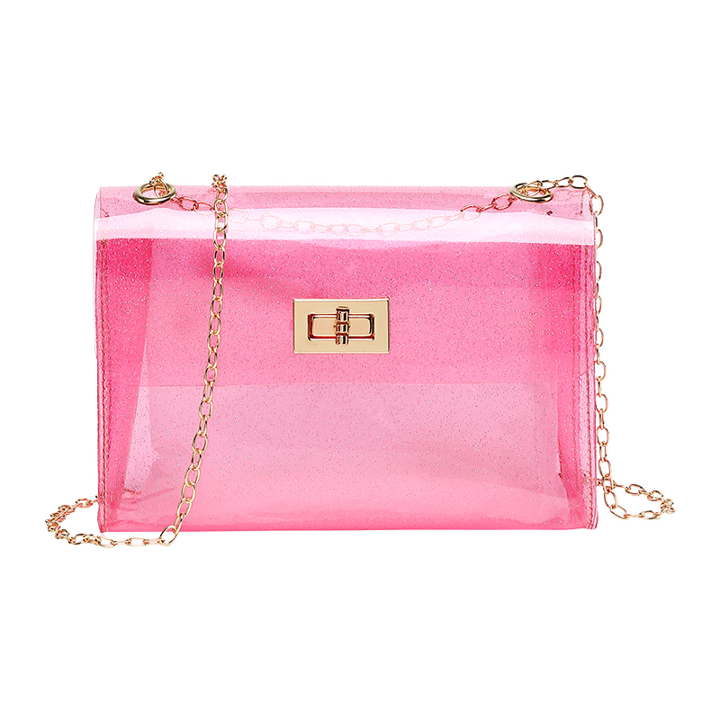 Women Jelly Bags Sac Transparent Femme Crystal PVC Material Clear Chain Tote Handbag Messenger Lunch Bags Lovely Kawaii