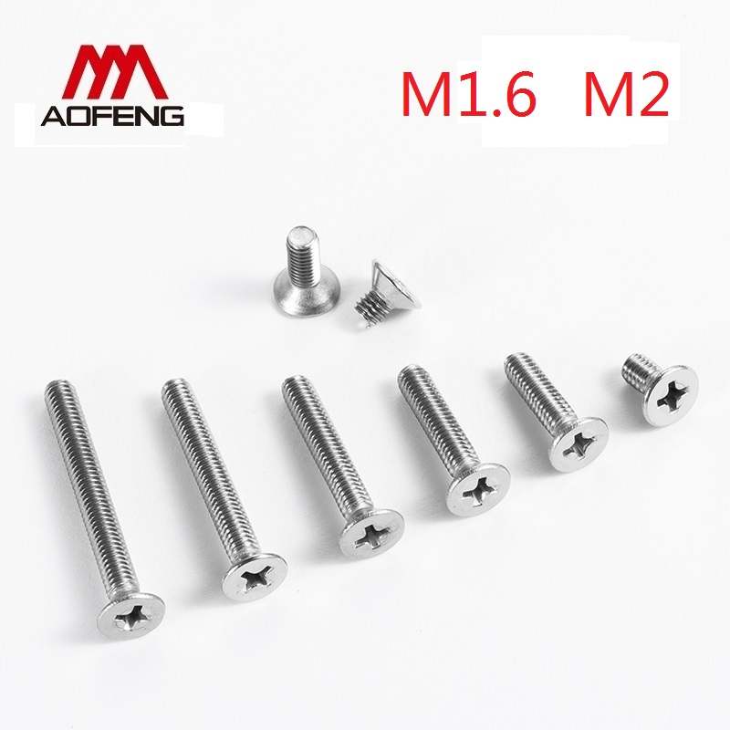 1.6mm 2mm Cross Recessed Countersunk Head <font><b>Screw</b></font> M1.6 <font><b>M2X3</b></font> 4 5 6 8 10 12 16 20 25 30mm Set <font><b>Screws</b></font> with Nuts and Washers image