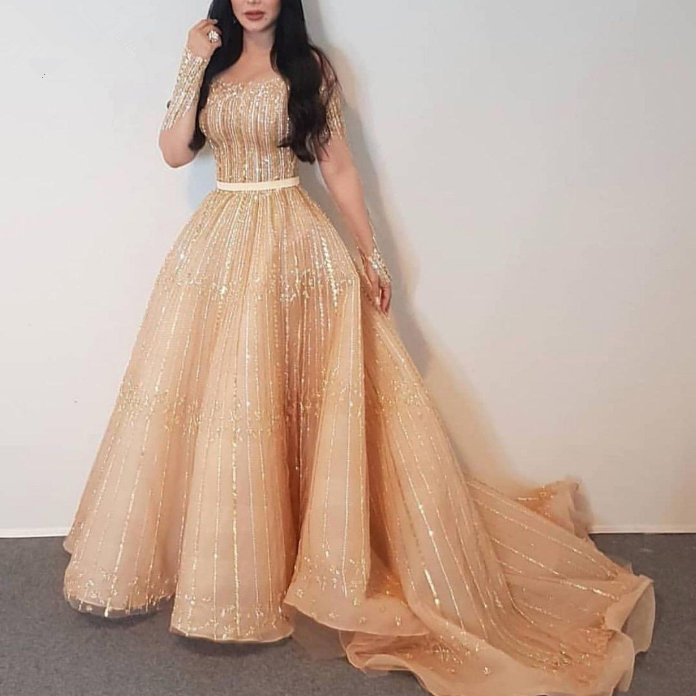 H Luxury Champagne Beaded Sequined Prom Dresses Full Sleeves A