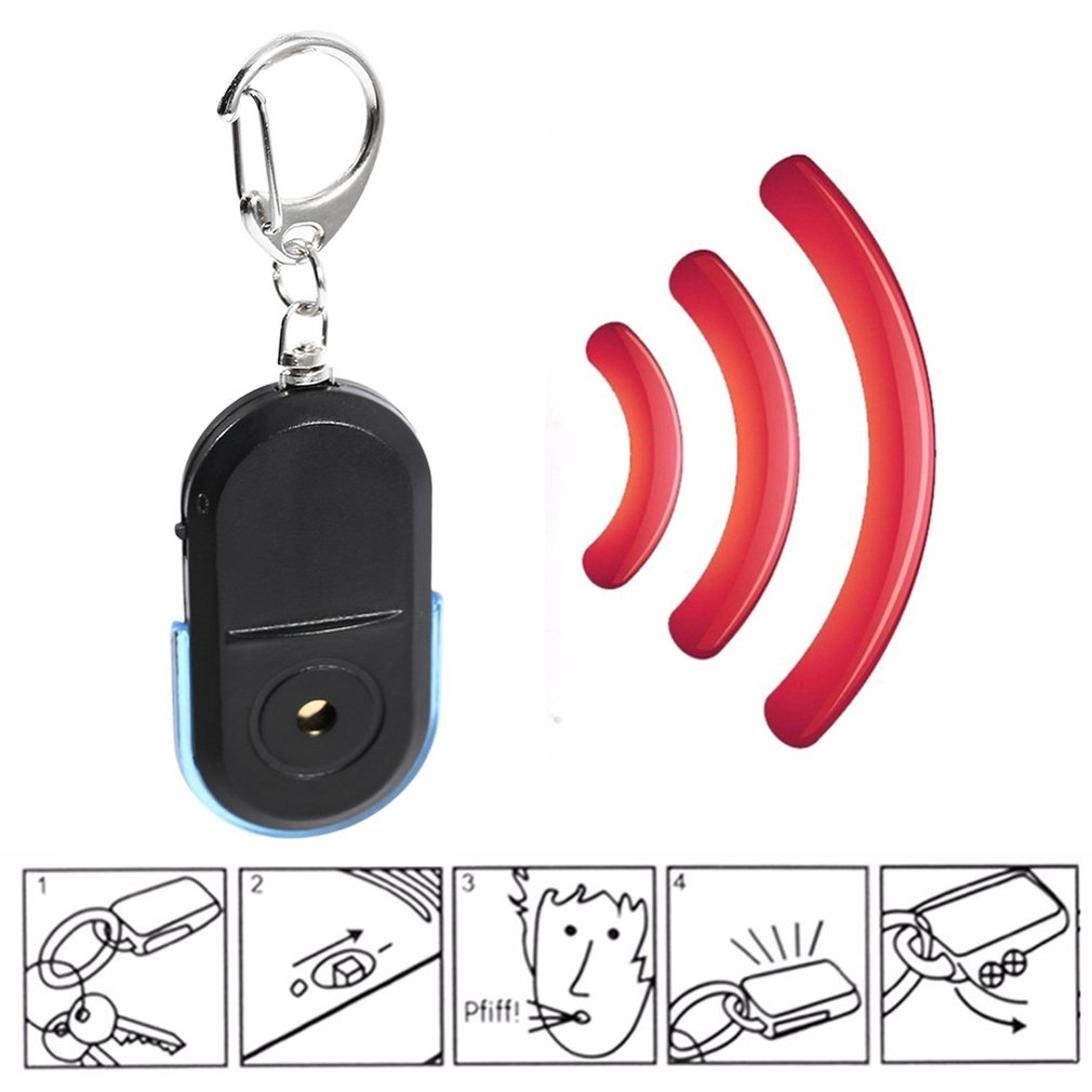 Nieuwe Draagbare Size Sleutelhanger Oude Mensen Anti-Verloren Alarm Key Finder Draadloze Nuttig Whistle Sound LED Licht Locator Finder sleutelhanger title=