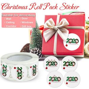 500pcs/roll Round Clear Merry Christmas Stickers Card Box Package Label Sealing Stickers Christmas Decoration Wedding Decor