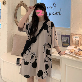 Disney Women Dress Mickey Mouse Printed Summer Clothes for Lady Loose Shirt Cartoon Pockets Fashion Harajuku Dresses