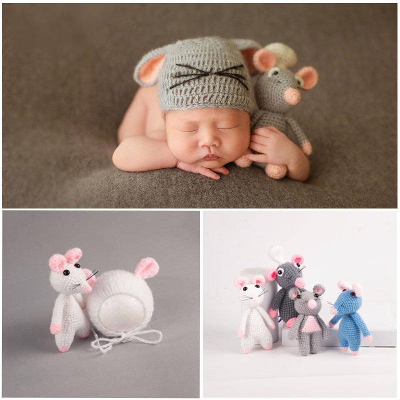 Newborn Photography Props Baby Boys Girls Accessories Infant Photoshoot Prop Baby Hats With Mouse Toys Hand Knitted Set