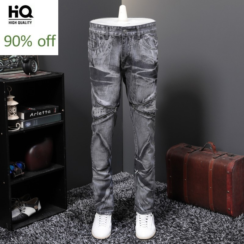 2020 Spring Autumn Moto Biker Mens Full Length Jeans Trousers Straight Loose Fit Plus Size 29-40 Fashion Hole Ripped High Street