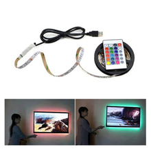 1M 2M 3M 4M 5M TV Backlight RGB USB Strip Lamp DC 5V 5050 SMD 30LED/M Background Flexible Lighting Lamp With Remote Control 1m 2m 3m 4m 5m 5050 smd rgb 60led m ribbon tape lamp dc 5v led strip rgb light tv back lighting kit ir remote controller